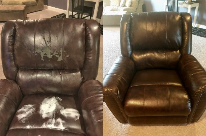 Bonded Leather Repair Before U2013 During U2013 After