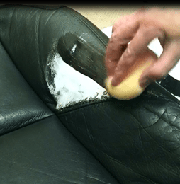 Applying Color Flex for leather repair